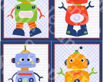 "Set of 4  ""Robot Baby/Robots"" 8x10 inch Linen Look Nursery Wall Art Prints Baby Children Kids Decor"
