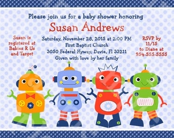 "Personalized ""Robot Baby/Babies"" Printable Baby Shower Invitation 5x7 U Print yourself"