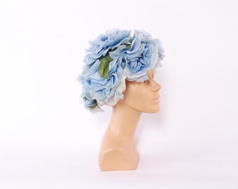 Vintage 60s Floral HAT / 1960s Pale BLUE Millinery Flowers Whimsical  Hat
