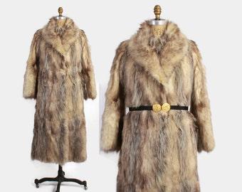 Vintage 70s FUR Coat / Vintage 1970s CHLOE Designer WOLF Fur Full Length Winter Coat