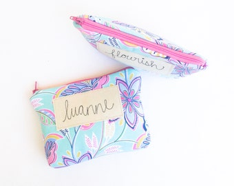 Makeup Case With Name or Message, Personalized Bridesmaid Gift or Best Friend Gift, Cosmetic Bag, Thank You Gift under 50 MADE TO ORDER