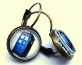 Tardis Earrings Blue Telephone Box Glass Fashion Jewelry