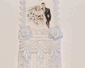 Wedding Tag, Vintage Tag, Bridal Shower Tag, Bride and Groom Tag, Lace Tag