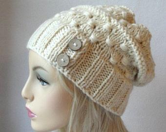 KNITTING PATTERN Knitted Hat Pattern,  Macaroni Beanie / Knit slouch beanie pattern,
