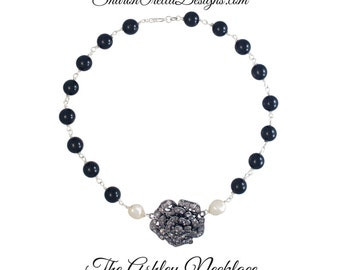 The Ashley Necklace  Vintage Inspired Rhinestone pendant Necklace with Crystal Glass pearls in Black and cream