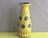 West German Pottery Bay Keramik LARGE Vase in Yellow