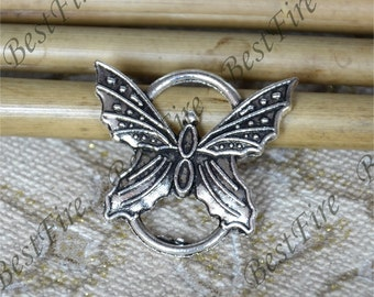 10 PCS Of 7x25 mm Antique Silver Couple Connectors Charms  butterfly Pendant,pendant beads, butterfly Connectors,jewelry findings