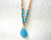 Turquoise Beaded Rose Gold Pendant, Pendant Necklace