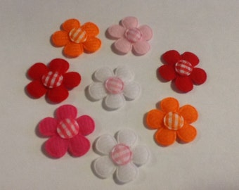 PRETTY FELT FLOWER Magnets in Custom Colors Set of 8
