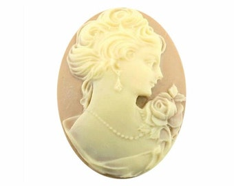 40x30mm Tan and Ivory Woman with Short Hair Resin Cameo 850x cabochon resin cameo victorian style