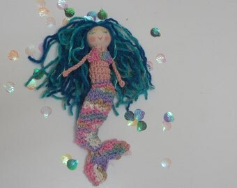 Aqua Mermaid doll, Finger puppet, Crochet, Fantasy doĺl