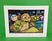 Michelangelo 3D Shadow box Teenage Mutant Ninja Turtles, Comic Collage--5x7 inches