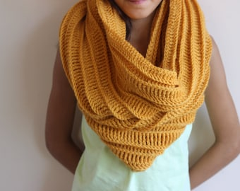 Mustard Chunky Cowl Neckwarmer -Thick Textured Ribbed Cowl-Oversized Hooded Scarf