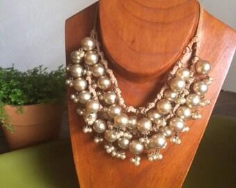 Vintage Faux Pearl Cream Bauble Wedding Boho Chic Bib Necklace
