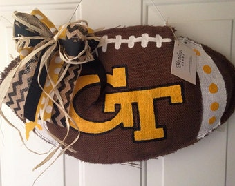 Georgia Tech Burlap Football Door Hanger
