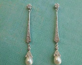 ABBEY ~ Bridal Art Deco Slender Pave with Freshwater Pearl Earrings