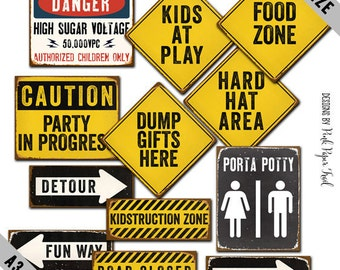 Large Construction Party Sign, Construction Party Decoration, Large Sign A3 size, Instant Download, Print Your Own