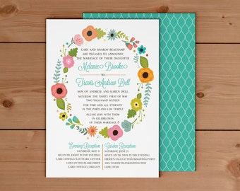 deposit for garden wreath lds wedding invitation