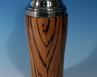 Zebrawood Wooden Cocktail or Juice Shaker with Stainless Steel Insert, Cocktail Shaker Lid with Strainer, and Cap