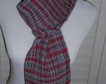 Handwoven Wool Scarf - Handwoven Scarf - Winter Scarf - Women's Scarf - Long Scarf with Fringe - Shades of Red and Grey - Red / Grey