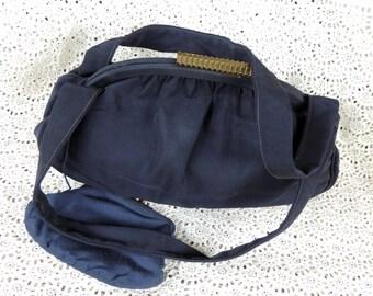 Vintage Jenny Handbag Paris New York Designer Navy Fabric Like New 1940's Rayon Brass Clasp with Coin Purse