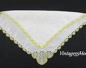 Handkerchief White Yellow crochet scallop