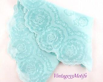Vintage Handkerchief Round Scalloped Rose Aqua Blue