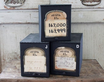 Vintage Metal Pharmacy File Boxes - 3 Available