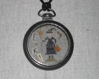 Halloween Witch Watch Fob Necklace, Altered Art, Primitive Cross Stitch - FREE US SHIPPING