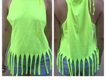 Neon green fringe T