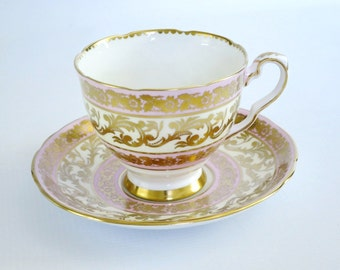 Vintage Tea Cup and Saucer Pink with Heavy Gold Gilt, Royal Stafford Teacup and Saucer, Cup and Saucer Buckingham Pattern