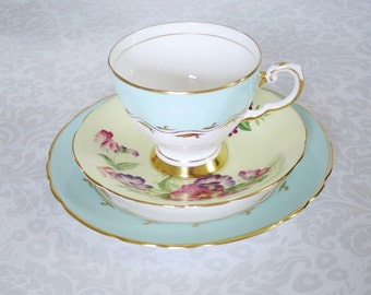 Vintage Pastel Tea Cup and Saucer Mix and Match /   Vintage Teacup and Saucer Set  /  Mix Match Cups and Saucers Decor Gifts Display