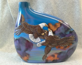 Ceramic Fighting Eagle With Stormy Sky Vase (finished)