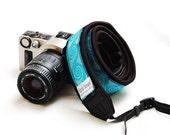 Ready to ship -  DSLR camera strap - Aqua Tile Christmas gift