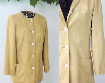Linen Blazer Jacket, Womens Suit Jacket, Designer Anne Klein Womens Vintage Jacket in Wheat Brown Yellow, Womens Suit Top, Size Small S 4 6