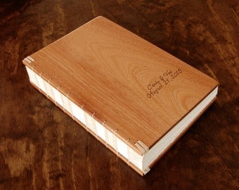 mahogany  wood wedding guest book -  rustic guestbook anniversary fall spring winter graduation anniversary baby journal - made to order