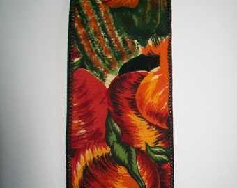 SALE - Ribbon Destash ~ Vintage Fall Pumpkin Harvest Print Wire Edged Ribbon by Horizon Fabrics