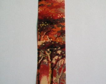 SALE - Ribbon Destash ~ Vintage Autumn Tree Scene Flat Edged Ribbon