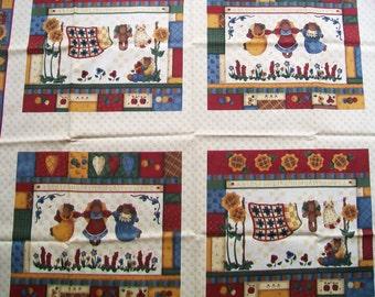 SALE - Vintage Fabric Destash - Country Bears at Heart Pillow Panel - Leslie Beck - VIP Cranston Printworks