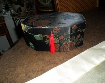 Vintage Asian Mirrored Satin Brocade Jewelry Box