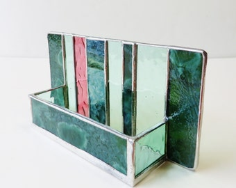Contemporary Stained Glass Business Card Holder Modern Office Decor Art Glass Woodland Green Coral Pink Desk Accessory Handmade