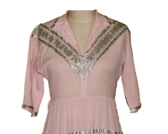 1950s Patio Dress  Pink /Silver Trim Dance dress  Bust 40""