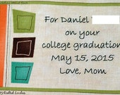 Quilt Label - Mod Squares, Custom Made & Hand Embroidered
