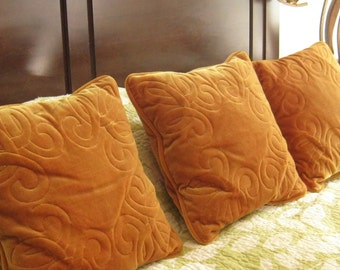 Vintage Velvet Throw Pillows Orange Square Set of Pillows with Scroll Design for Couch or Bed