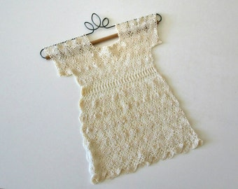 Vintage Crochet Baby Dress, Handmade,Nursery,Frame