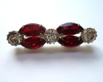 Red Crystal Rhinestone Brooch Rhodium Plated Rhinestone Bar Pin