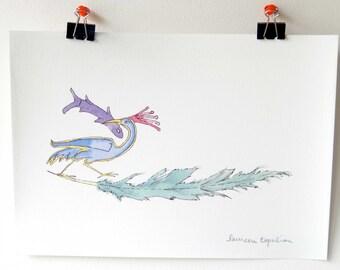 Watercolor Bird / bird painting / armenian bird illustration/ armenian literature