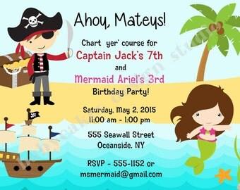 Pirate and MERMAID invitation invite, pirate mermaid birthday Party Invitation Invite, under the sea, DIY Printable Digital
