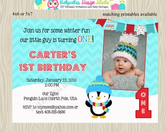 winter onederland birthday party invitation invite 1st birthday penguin red blue aqau photo picture twins siblings digital printable DIY