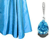 Aqua Blue Crystal Earrings Swarovski Aquamarine Rhinestone Earrings Teardrop Blue Earrings Bridesmaid Blue Earrings Wedding Blue